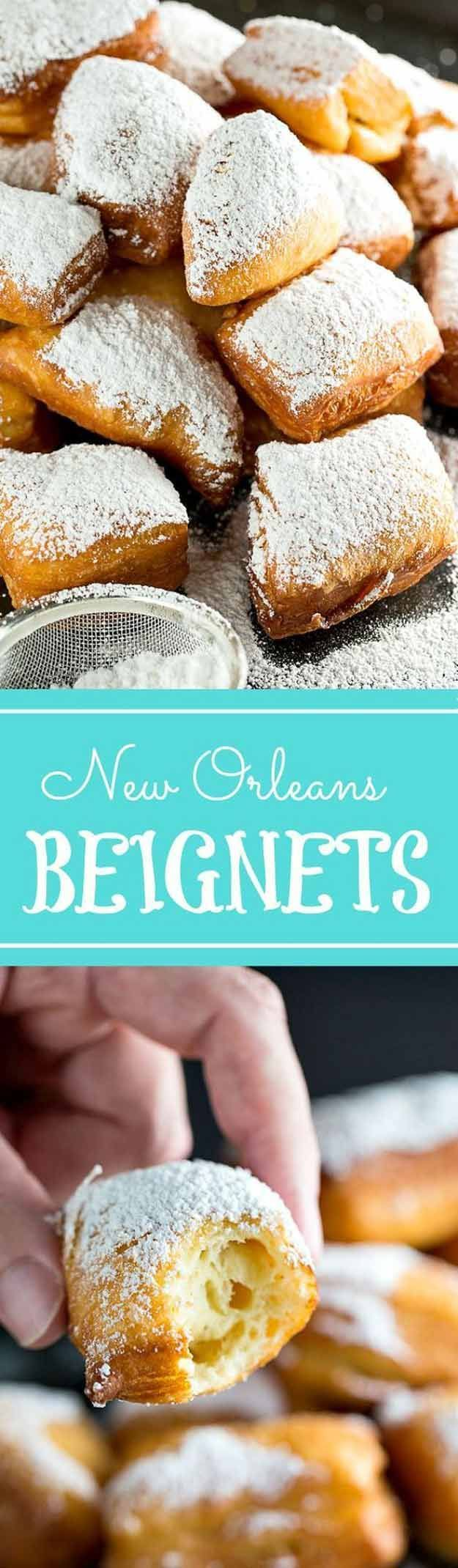 Homemade Beignets | 23 Festive Fat Tuesday Ideas | Mardi Gras Party - Fun DIY Crafts, Costumes, Party Decorations, Food Recipes And More! by Pioneer Settler at http://pioneersettler.com/fat-tuesday-party/