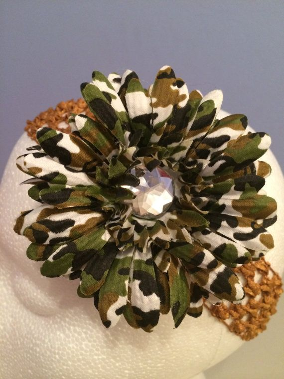 Jewelled Camouflage Daisy Headband by LittleBugBling on Etsy