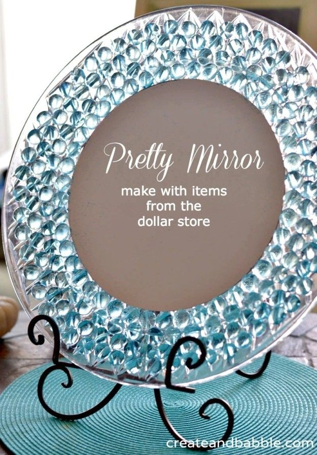 Glue transparent gems and a small round mirror onto a plastic charger plate to make a stained glass vanity mirror. | 42 Dollar Store Tricks Every Broke Person Should Know