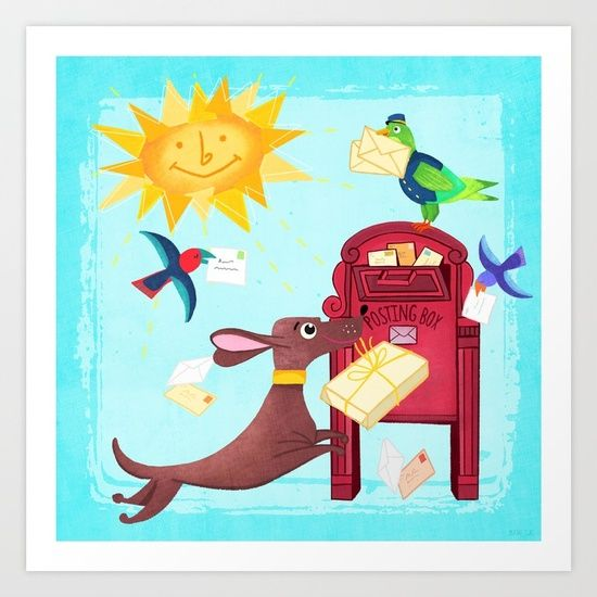 SPECIAL DELIVERY!  new in my shops today! #mail #post #illustration #children #dog #birds #sun #dachshund