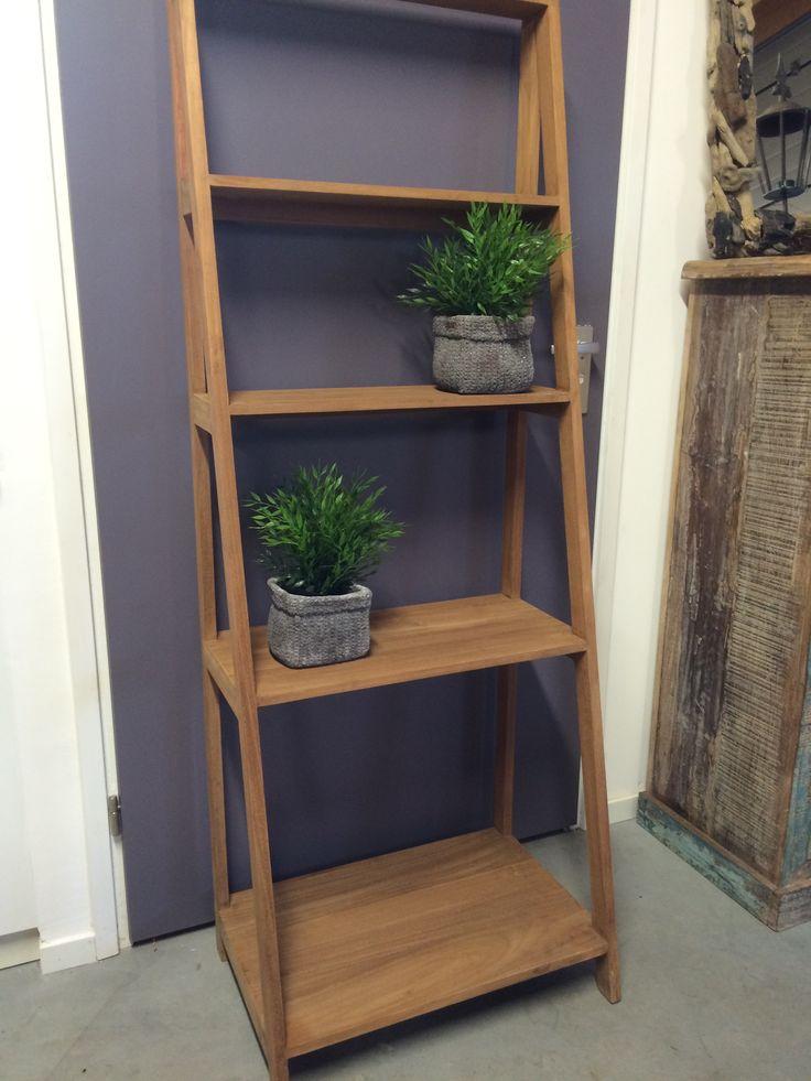 Teak trap mooie kwaliteit en stevig als boekenkast badkamerkast of als decoratie een - Decoratie interieur trap ...