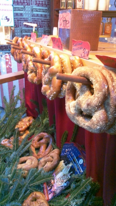 The Christkindlmarket in Chicago, IL- the pretzel place - my husband loves their fresh pretzels!