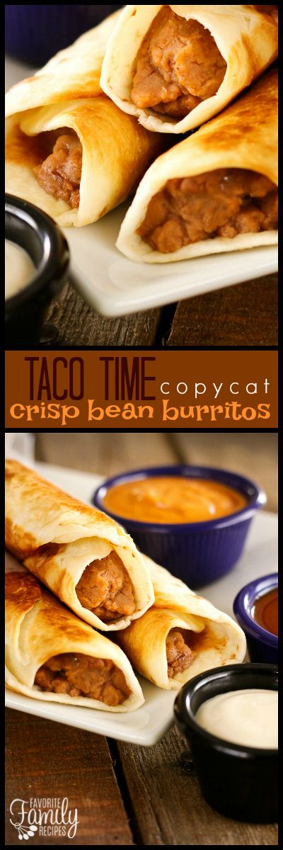 These Taco Time Crisp Bean Burritos are a great finger food, snack, or a quick lunch. Typically they are fried but I like them just as well when baked! via @favfamilyrecipz