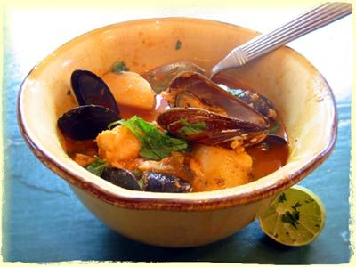 Fish and posole stew. This site is our favorite source for dried beans. They also have some fantastic recipes. #glutenfree