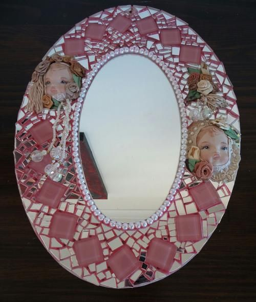 Mosaics Mirror with porcelain dolls  Handcrafted - free postage | bidorbuy.co.za R300 incl Postage 0823893735 www.hanlicreations.co.za