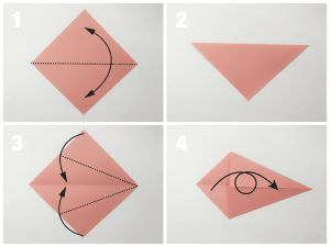 Learn how to fold a easy origami fish! This traditional model uses one sheet of origami paper and takes just a couple of minutes! Great for kids.: Easy Traditional Origami Fish Tutorial - Step 1