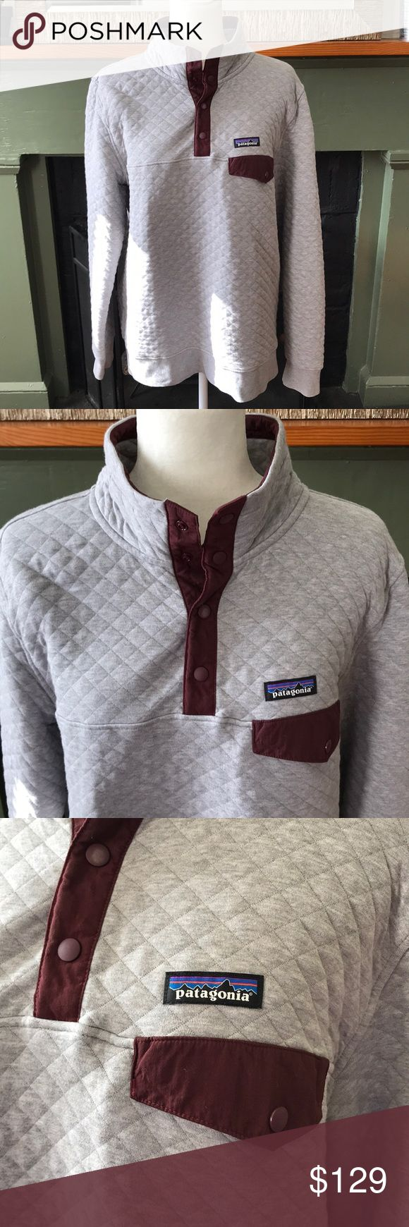 Patagonia Organic Cotton Quilted pullover Patagonia quilted pullover in grey and ruby. Excellent condition.  Bought it mid-January, wore it a few times, but would like a different size.   Women's size Large. Patagonia Sweaters