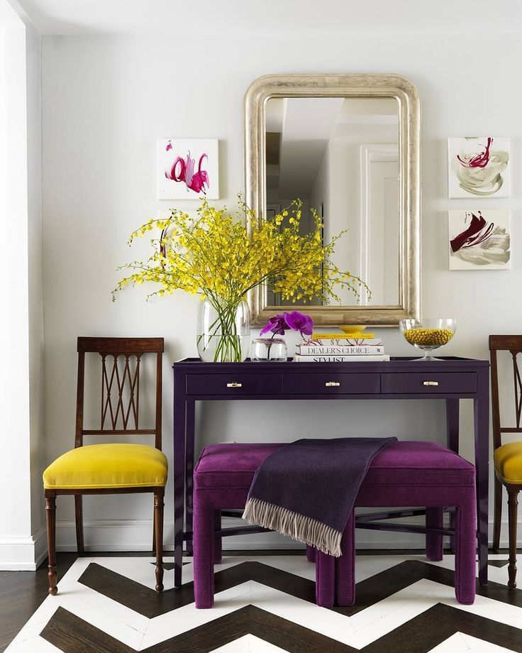 A punch of purple to energize you for the day ahead.  (: @jonnyvaliant | Design: @christinamurphyinteriors) #HBcolor #instahome