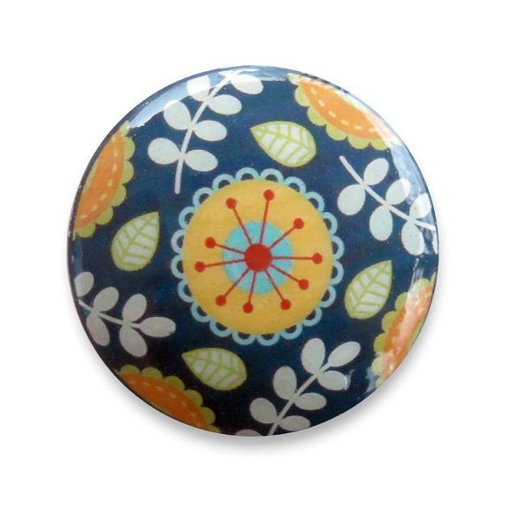 Floral Folk Knob Pull : Navy Blue Orange Turquoise Woodland Flower Style Wood Hardware Fixture for a Cabinet or Drawer - Knobs by Design on Etsy, $3.50