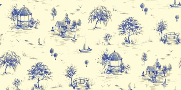 Lazy Days Delft (950703) - Sophie Conran Wallpapers - A pretty toile with a fusion of Eastern and British motifs.  Shown in the delft blue on off white colourway.  Paste the wall. Please request sample for true colour match.