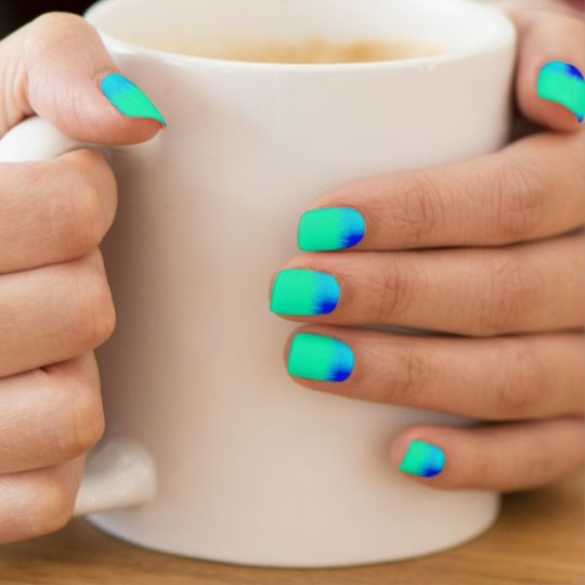 Blue and Green Patchwork Minx Nail Art | Zazzle.com