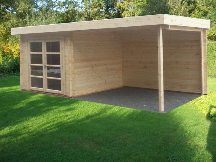 TuinTotaalCenter Zwolle - Actie blokhut Modern Easy 8 250x250+300x250 Hannah Tuinhuis Blokhut met platdak en luifel | Blokhutten, Tuinhuizen, Garages