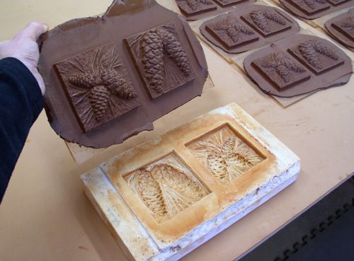 Handmade Ceramic Tiles, Animal, Pinecone, Flower and Leaf Motifs ...