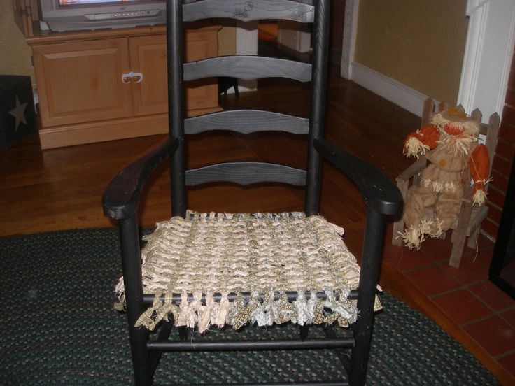 Great Refinish On An Old Chair   She Replaced The Cane Bottom With Woven  Cloth Strips