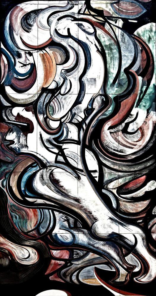 Mural Exterior del Polyforum Siqueiros La Danza:  La madre de las artes. En modo abstracto, un par de piernas sugiere la rítmica del cuerpo. Brota en silencio con sólo movimientos; es sacrificio, oración y visión profética ante la divinidad semi oculta en lo alto.