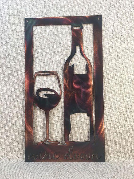 Wine Down Bottle & Glass Metal Wall Art | Beach House Decor ...
