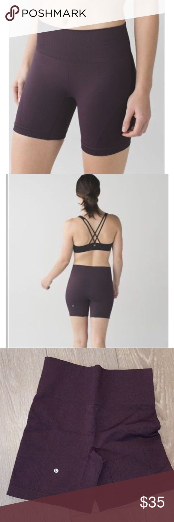 "Lululemon Sculpt Short Color: Black Cherry Lightweight, sweat-wicking The medium-rise waistband helps keep us covered whether we're folding forward or bending over our handle bars, while a gusset-free design moves bulky seams away from our lady bits to help keep chafing at bay.  Key features lightweight, sweat-wicking fabric helps keep you feeling cool and dry seamless construction reduces bulk  comfortable waistband   fit: tight rise: medium inseam: 6"" leg opening: 17 1/2"" lululemon…"