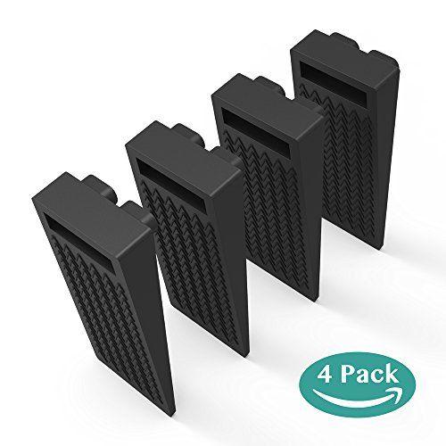 Door Stop Wedge BearMoo Flexible Door Stopper Rubber 4 Pack - Smart Stackable Slip-Resistant Design - 100% Non-toxic Odorless Doorstops Work Well on All Surfaces (Black)