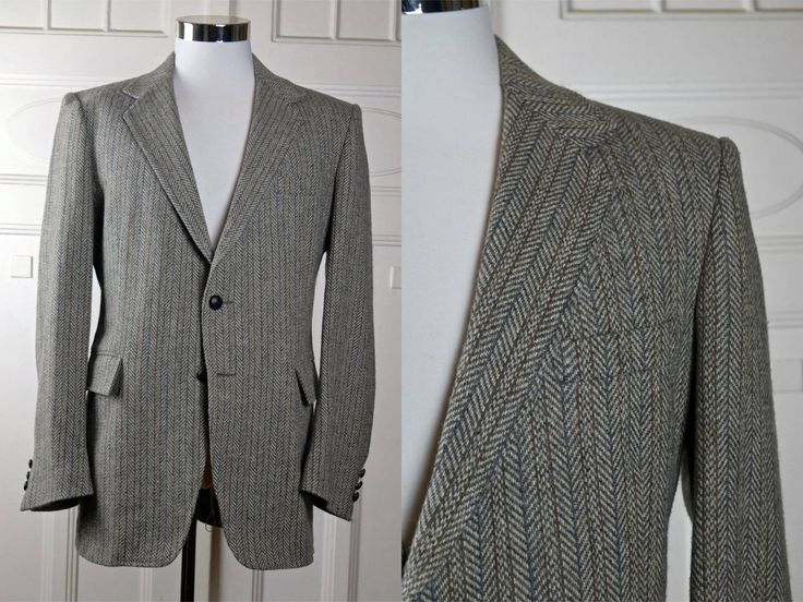 Herringbone Tweed Wool Blazer, Light Brown Beige Gray Single-Breasted Wool Jacket, European Vintage Sports Coat: Size 40 US/UK by YouLookAmazing on Etsy