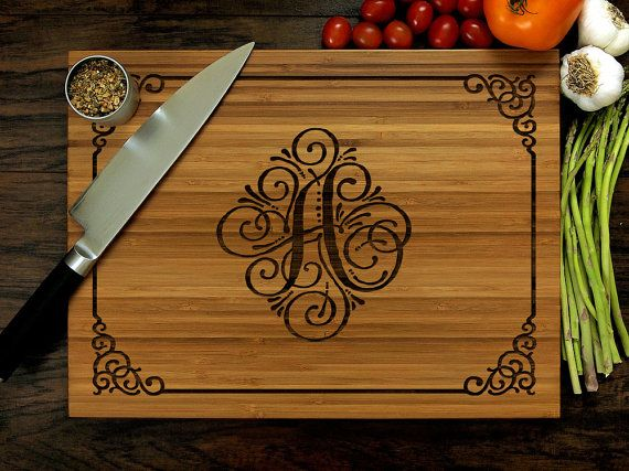 Personalized Cutting Board //♡ THESE ARE ALL BEAUTIFUL! BUT I WAS THINKING, WITH ALL THE PATTERNS AND IMAGES I HAVE FOR CALLIGRAPHY AND PERGAMANNO, WHAT COULD I COME UP WITH IF I PULLED OUT SOME TRACING PAPER AND MY WOOD BURNING TOOL??? ♥A***Sounds like fun!