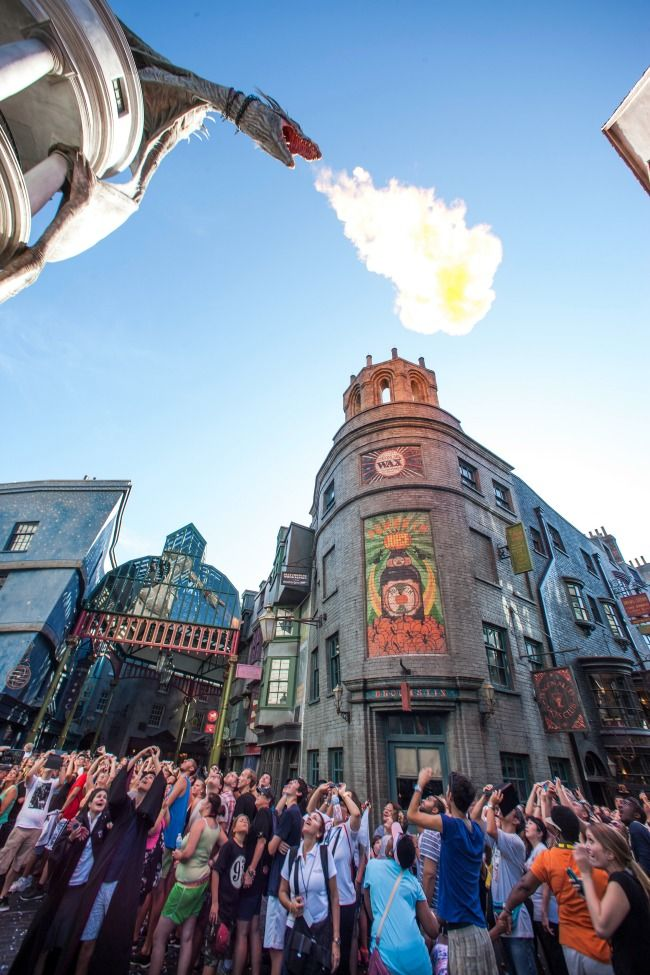16 Wizarding World of Harry Potter Hidden Secrets - Fire breathing dragon in Diagon Alley, Universal Studios Orlando, Florida
