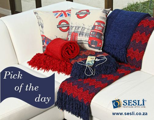 Our pick of the day. Classic navy and red is always a winner. We offer a diverse range of Summer throws - you will be spoilt for choice! http://sesli.co.za/index.php/chenille-throws