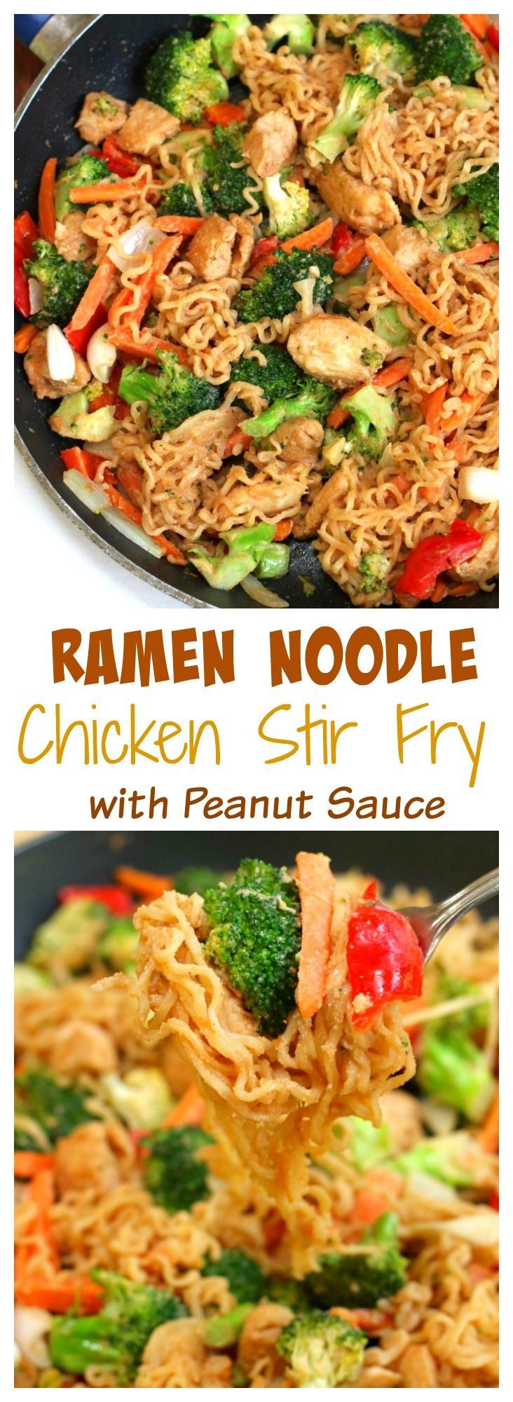Ramen Noodle Chicken Stir Fry with Peanut Sauce -- Personal Notes:  More noodles, thin down the peanut sauce