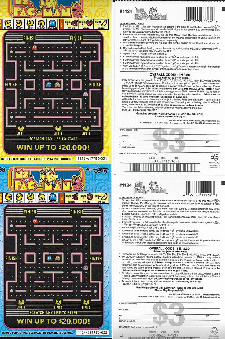 Scan of Ms. Pac-Man scratchers sold by the Arizona State Lottery