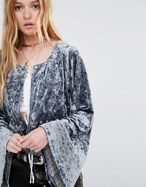 ebonie n ivory | Ebonie n Ivory Embroidered Velvet Jacket With Wide Sleeve