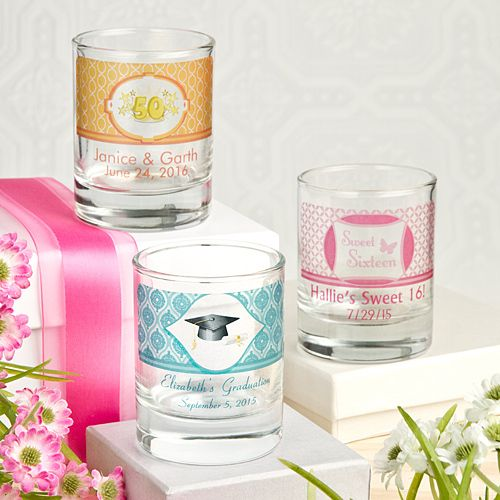 Personalized Shot Glass Party Favors or Votive Holders (FashionCraft 3406CS_Misc) | Buy at Wedding Favors Unlimited (https://www.weddingfavorsunlimited.com/personalized_glass_shot_glass_votive_holder.html).