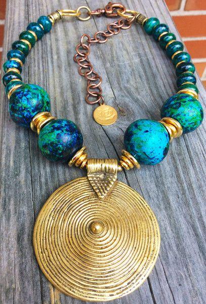 Blue Statement Necklace | African Brass Pendant Choker | XO Gallery | XO Gallery $175