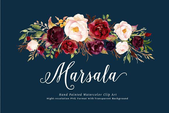 Watercolor flower Clip Art-Marsala This is a mini pack - Marsala from Tribe flower collection. The main color way of this pack is burgundy, it is very perfect for your wedding stationery in rustic, boho chic, vintage style. Just enjoy and have fun! by Graphic Box on @creativemarket  #affiliate