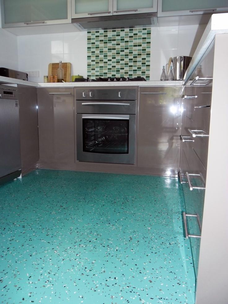 Dalsouple terrazzo rubber flooring in a kitchen in Coburg, Melbourne, Australia, background colour Lagon