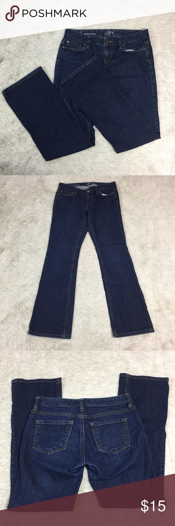 LOFT Modern Boot Jeans 4 Petite Approximate measurements: waist 14.5in, length 36in, inseam 28in. Gently used. Very slight fading in crotch area but no pilling. See photos. LOFT Jeans Boot Cut