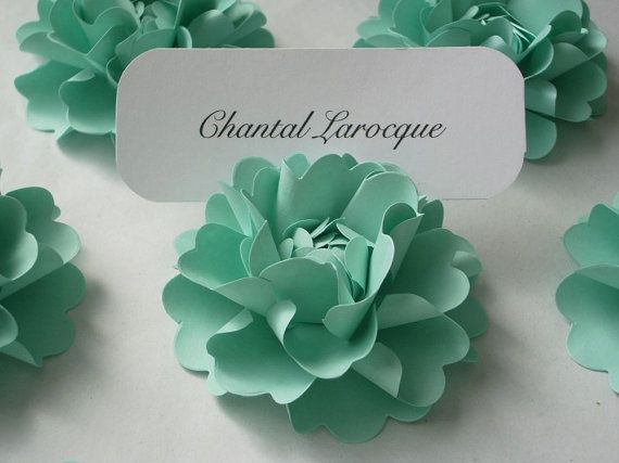 Tiffany Blue - Place Card Holders Handmade Paper Flower designed by DragonflyExpression