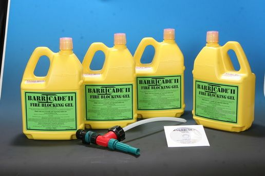 The home kit comes complete with everything you need, to apply Barricade Fire Gel with a regular garden hose.  Simply follow the instructions and thoroughly coat eaves, walls, windows, rooves, surrounding grounds and even vehicles.  Barricade can be applied many hours before a fire approaches, allowing you and your family to retreat to a safe place until the threat passes