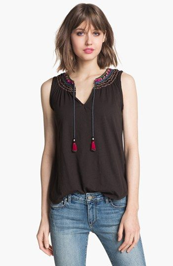 Ace Delivery 'Gemma' Embroidered Tassel Tank available at #Nordstrom
