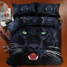 3D pantera Negra jogo de cama super king size rainha equipado capa de edredon de casal colcha de lençóis colcha de cama de algodão animal print 5 pcs(China (Mainland))