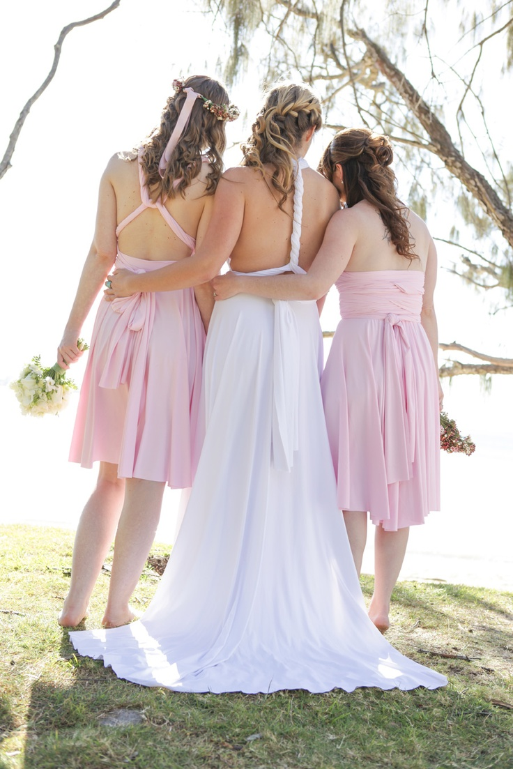 Pale Pink Convertible Bridesmaid Dress by http://www.lucyandloo.com.au     Wrap and Twist these Convertible Dresses into over 50 different styles. Match your bridesmaids.. or let them style differently to suit their shape.