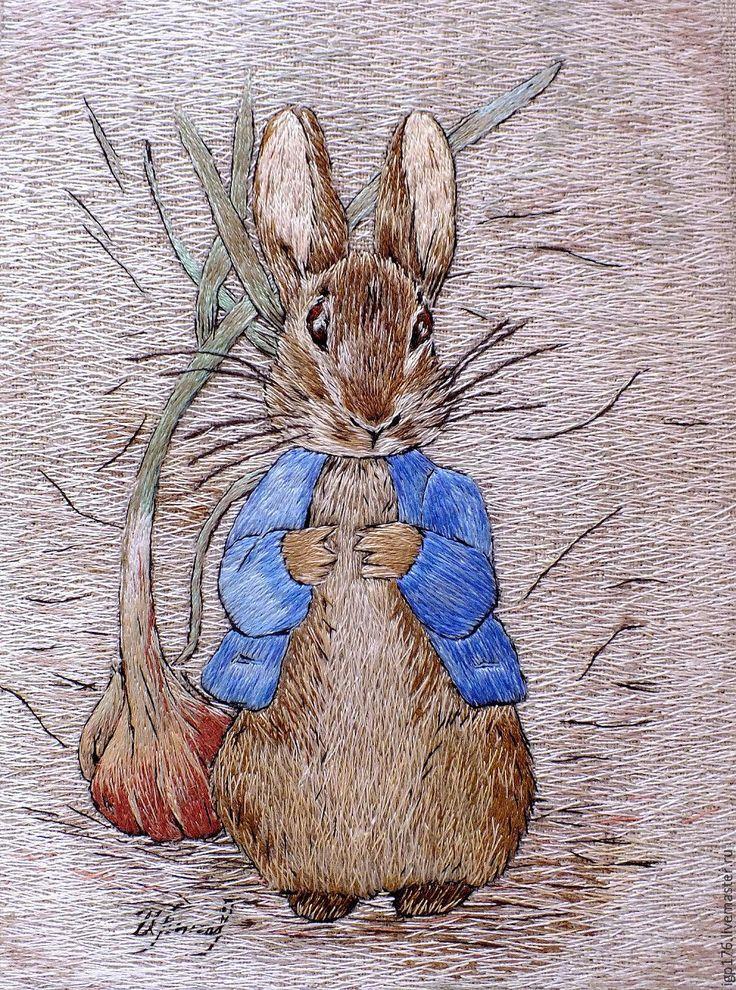 """Купить """"Кролик Питер"""", вышитая гладью картина - кремовый, кролик питер, Вышитая картина, подарок"""