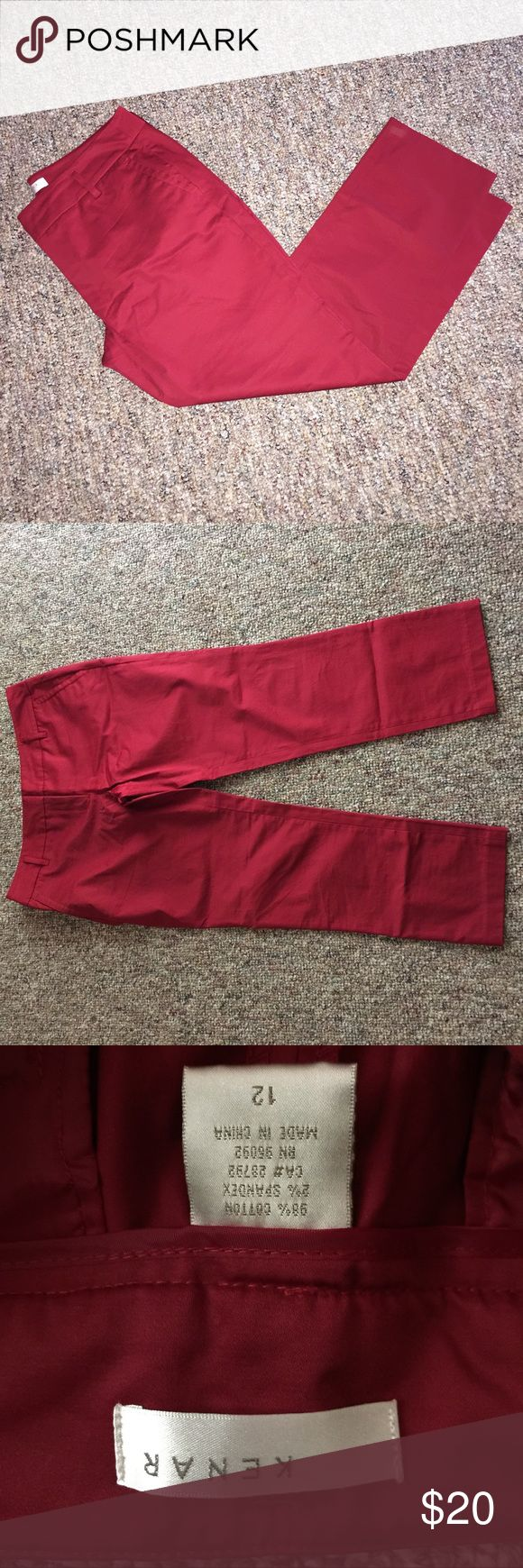 Red Shiney Skinny Pants Beautiful red skinny cotton pants taper in towards the ankles. They are ankle length. Kenar Pants Ankle & Cropped