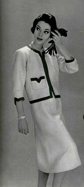 "1957 Chanel Jacket ""The hardest thing about my work is enabling women to move with ease, to move like they're not in costume,"" said Chanel."