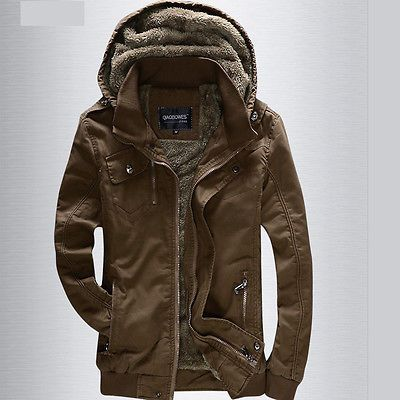Outdoor Men's 100% Cotton Hooded Jackets Coat Winter Warm Puffer Coat M L XL XXL[Khaki,XL]