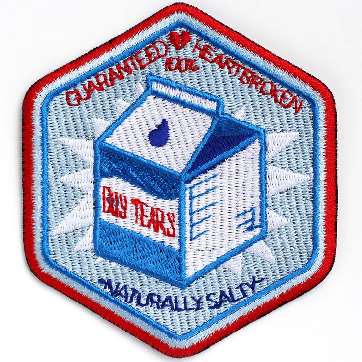 Boy Tears iron-on embroidered patch.