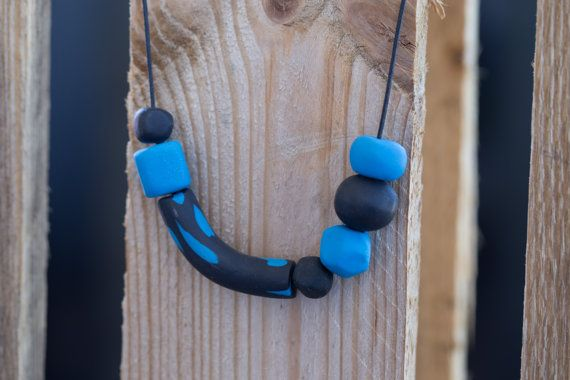 Polymer clay necklace. Blue and black beads by HandmadebyjoDesign