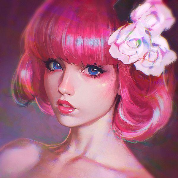 pink noise by kr0npr1nz - Illustrations by Ilya Kuvshinov  <3 <3