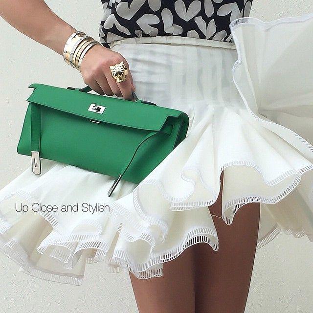 Up Close -  #Alaïa skirt, #SaintLaurent top, #Hermès #KellyCut and #Cartier…