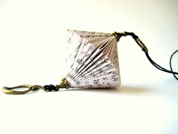 Book Art Necklace - Paper Jewelry - Altered Book                                                                                                                                                                                 More