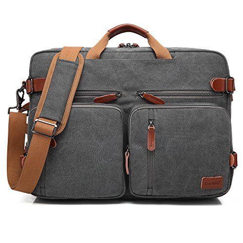 CoolBELL Convertible Backpack Messenger Bag Shoulder bag Laptop Case Handbag Business Briefcase Multi-functional Travel Rucksack Fits 17.3 Inch Laptop For Men / Women (Canvas Dark Grey).