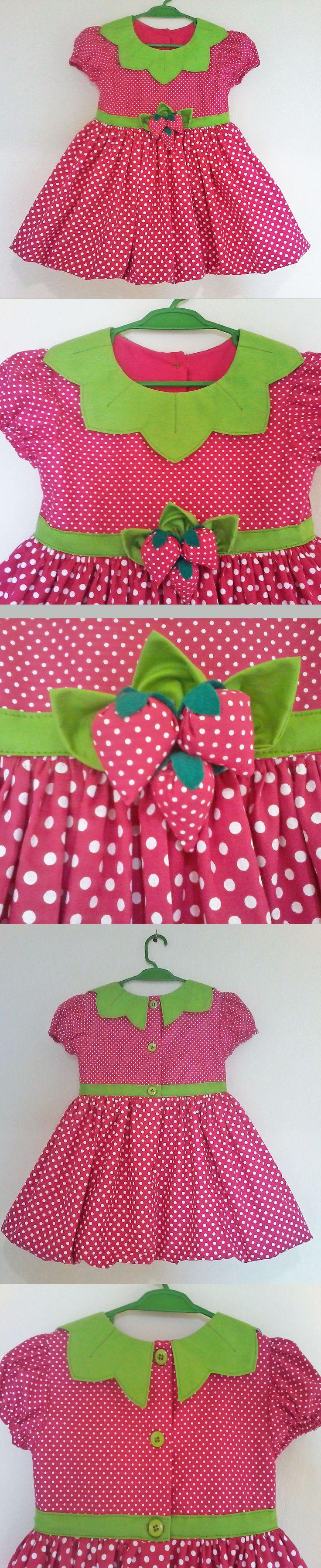 Vestido Moranguinho-- -- Strawberry Shortcake Dress -- --  baby - infant - toddler - kids - clothes for girls - Moldes Gratuitos - Free Patterns  -----------------------------------------------------Molde grátis  em https://www.facebook.com/groups/1594730384185604/